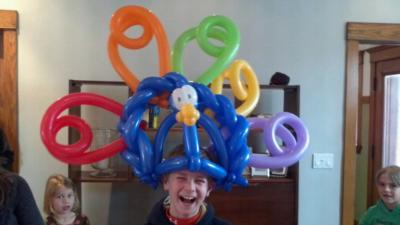 Balloon Hat at Birthday Party